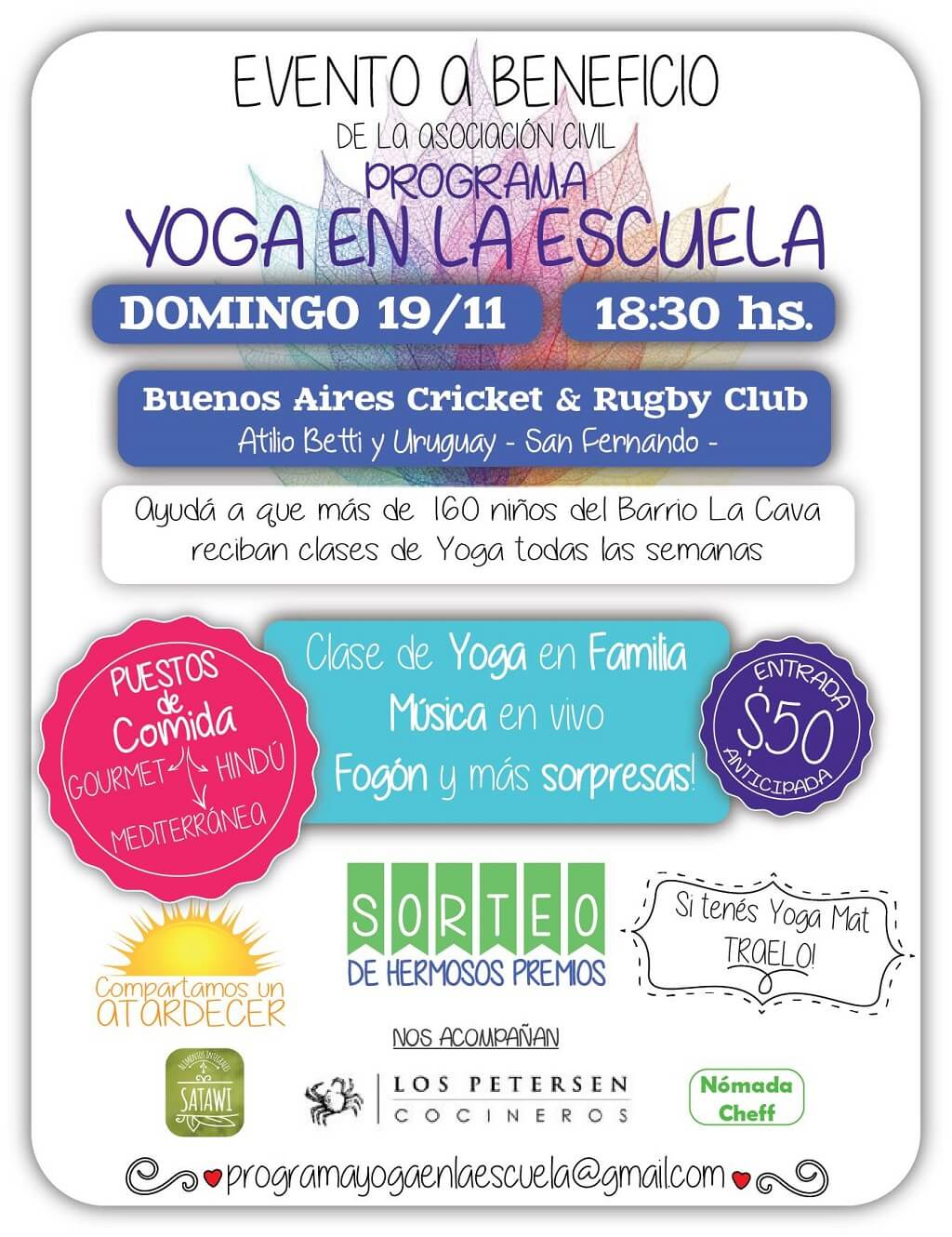 Evento a Beneficio Programa Yoga en la Escuela Asociación Civil